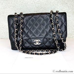 Chanel Classic Caviar Single Flap Bag Black Silver
